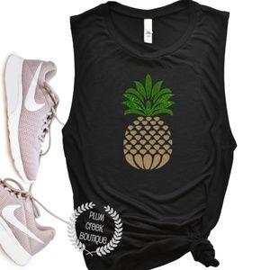 NEW Pineapple Muscle Workout TShirt Black NWT